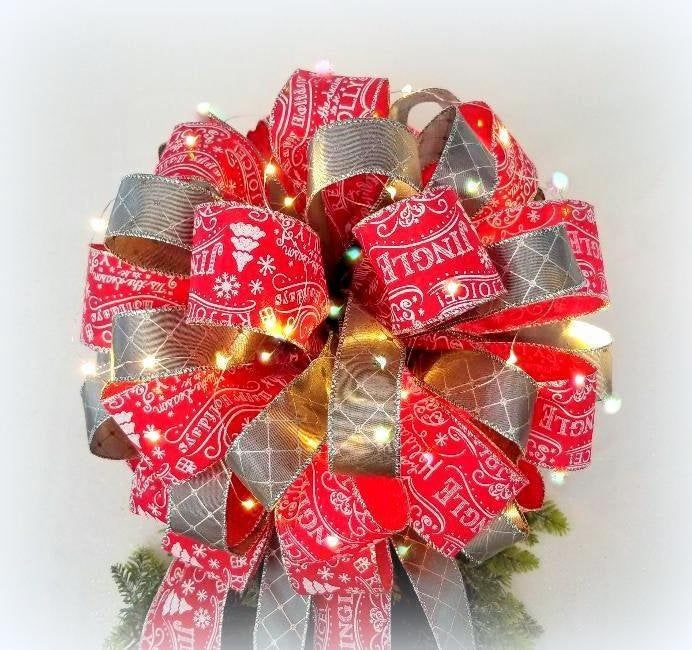 Lit Christmas Tree Topper bow ribbon with White Lights | Lit Red White Christmas Script Silver ...