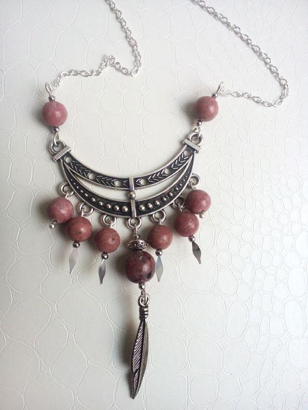Rhodonite gemstones, ethnic pendant by Mercy's Fancy