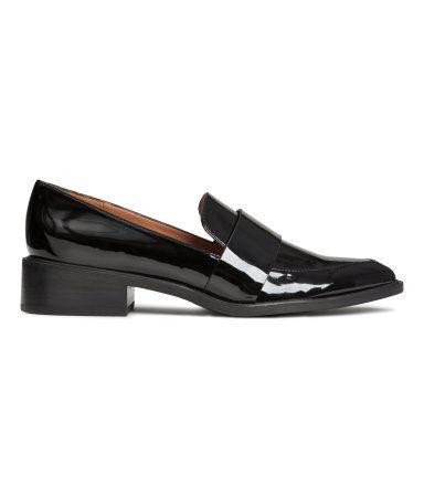 Loafers i imiteret laklæder | Sort | Dame | H&M DK