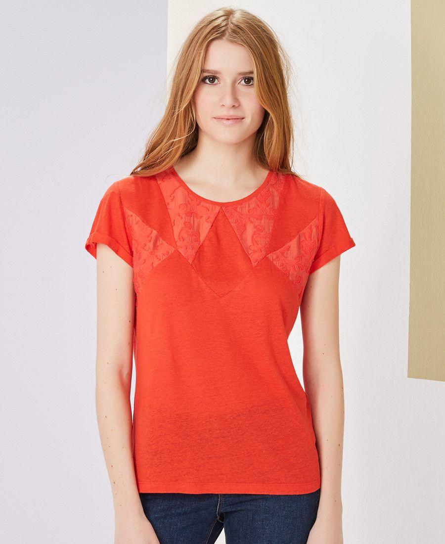 T-shirt rouge en maille de lin One Step   Collection PE 2017 Femme ... 6bf1b037e2e