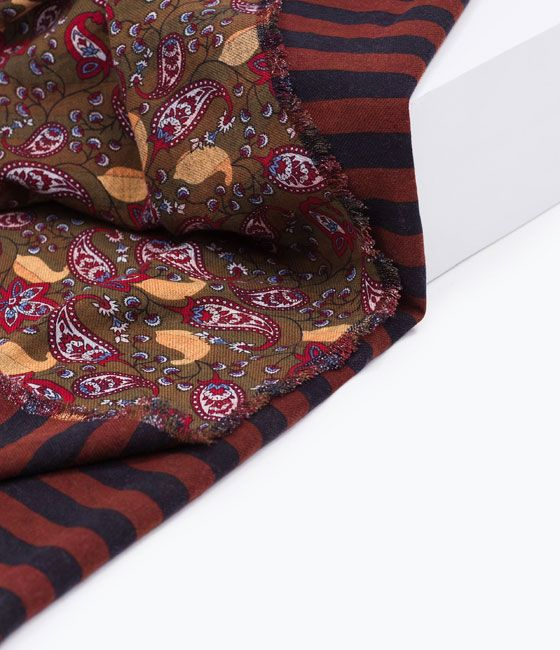 ZARA - WOMAN - PAISLEY AND STRIPES DOUBLE LAYER SCARF