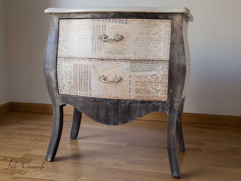 #Mueble de DM #auxiliar #restaurado, pintado a mano y con decoupage. www.lolagranado.com