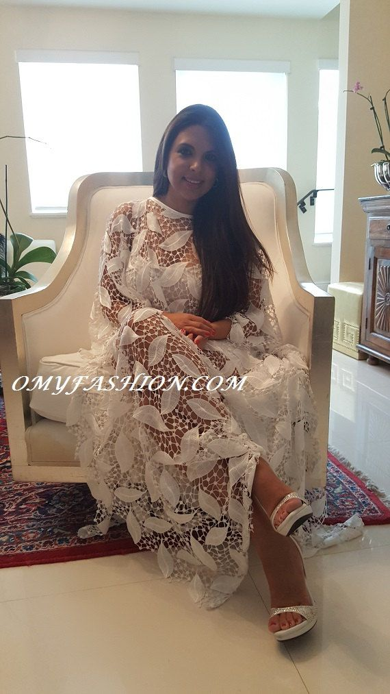 6452508ba815b Luxury Wedding White Guipure Lace Beach Kaftan Resort Cruise Oversize Bride…