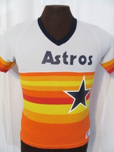 vintage HOUSTON ASTROS BASEBALL JERSEY 80s retro t-shirt S  8e2e2bfe5