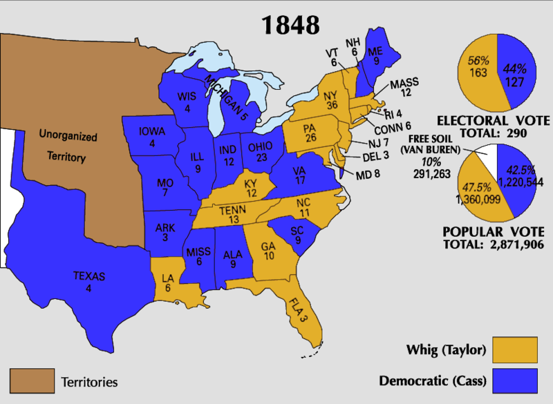 1848) Electoral Map | Iowa, Van buren, Chart on europe map 1848, united states presidential election 1848, united states of america, california map 1848, united states in 1846, mexican cession map 1848, united states elevation, us history map 1848, united states borders before 1848,
