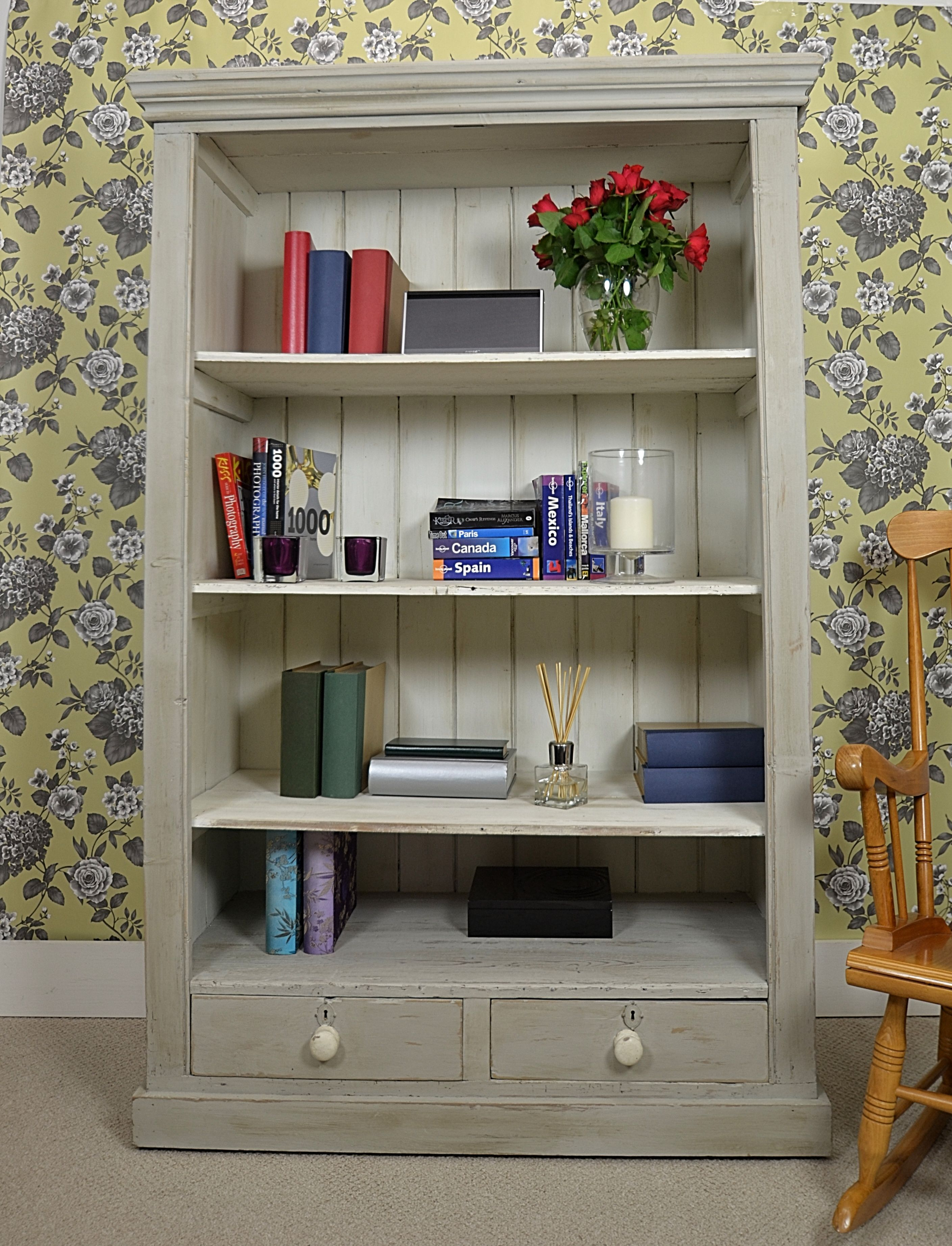 white wall chic wallpaper linnlive designs shabby pattern natural various com bookcase bookshelf itm feature images
