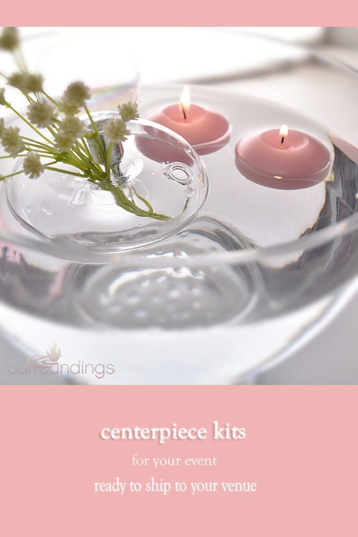 Floating glass flower rings centerpiece elements pinterest