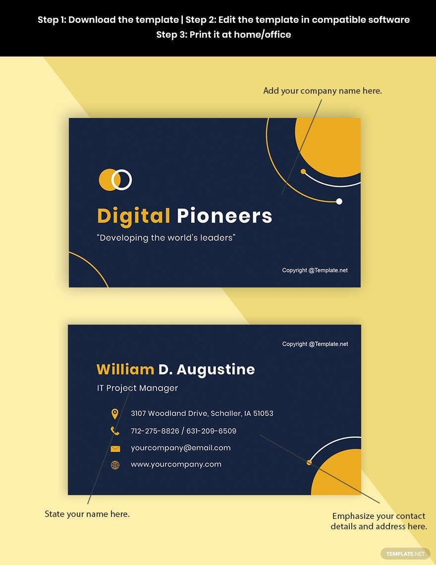 Free Sample Project Manager Business Card Template Word Doc Psd Apple Mac Pages Google Docs Illustrator Business Card Template Word Business Card Template Free Business Card Templates