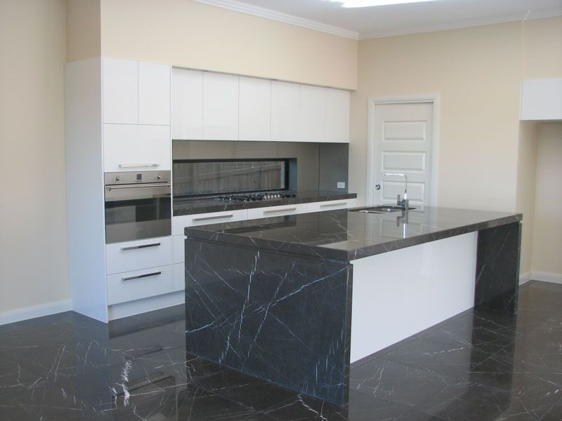 Polished Pietra Grey Marble Benchtop And Honed Pietra Grey Marble Floor  Tiles   Supplied By Sareen
