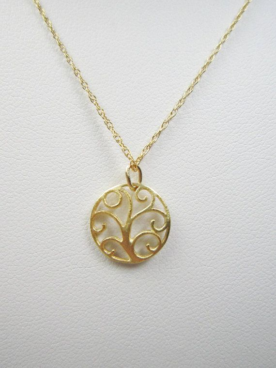Tiny 14k Gold Vermeil Tree of Life Necklace Delicate Gold Filled