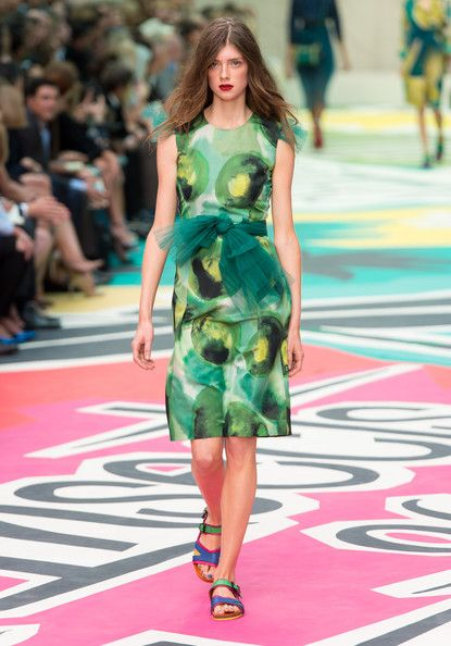A model walks the runway at the Burberry Prorsum show during London Fashion Week SS15 on September 15, 2014 in London,England.