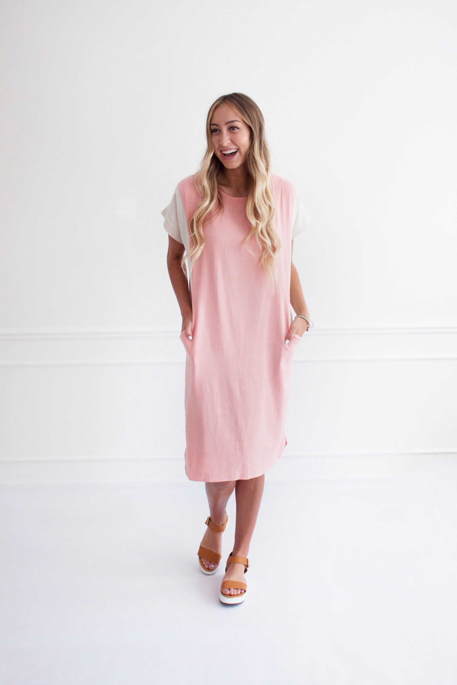 Faye Colorblock Dress - Blush | Love Winnie James Collection ...