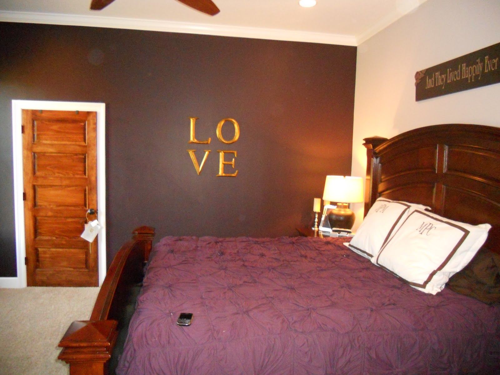 purple accent wall in bedroom would need to be a shade of brown for our  room. Image result for burgundy bedroom   Bedroom   Pinterest   Living