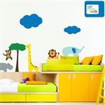 Jungle Scene Wall Decal.  Every day can be at day at the zoo with this playful jungle scene.  Whether their favorite animal is a giraffe, hippo, lion, elephant or monkey, every child will love this setting in their room.