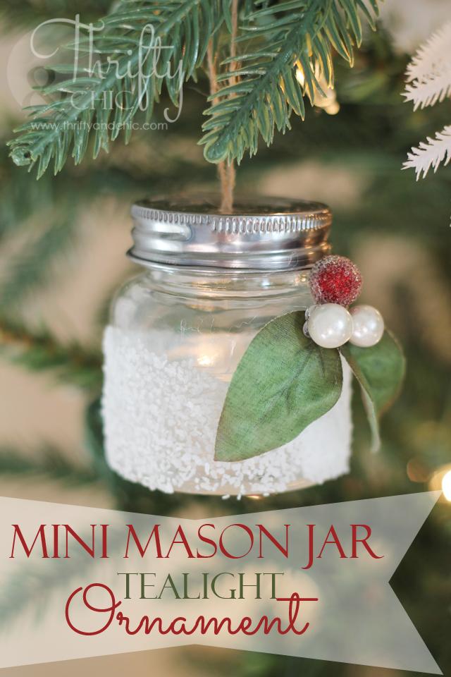 Mini Mason Jar Tea Light Ornament Christmas Jars Mini Mason Jars Mason Jar Tea Lights