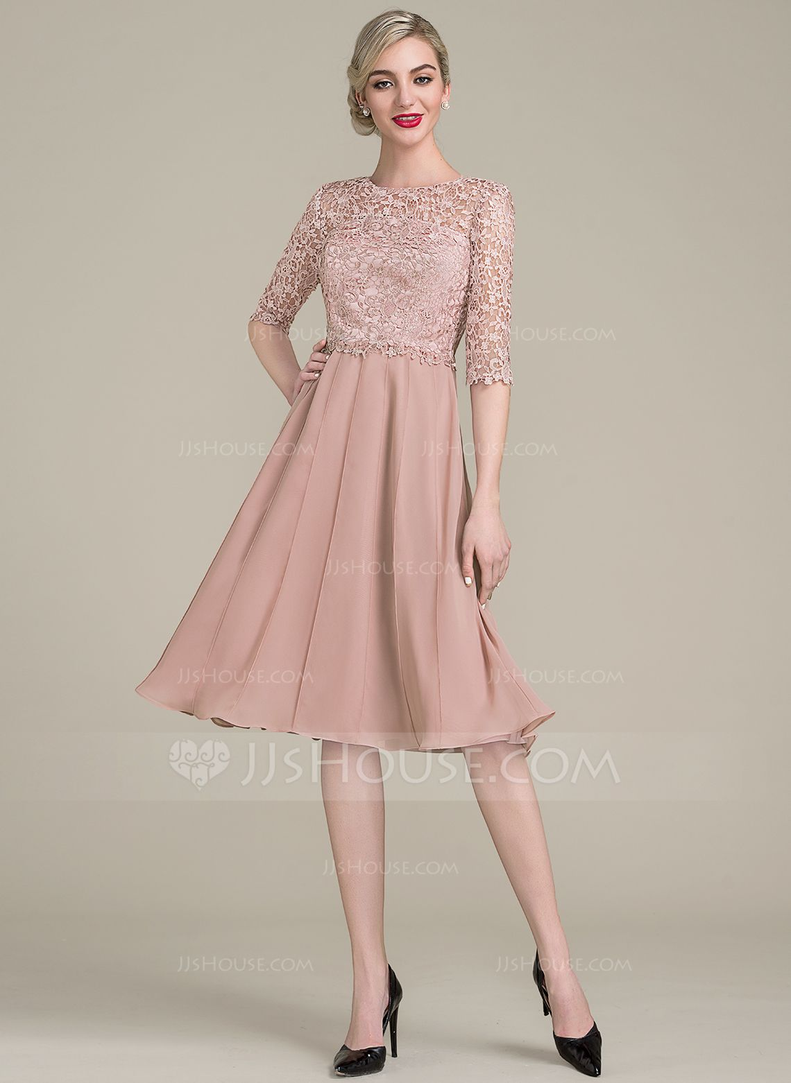Long dresses for wedding party  ALinePrincess Scoop Neck KneeLength Chiffon Lace Mother of the