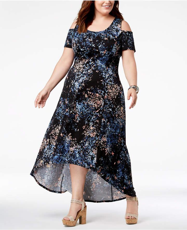 79b5c69a45f76f NY Collection Plus   Petite Plus Size Cold-Shoulder Fit   Flare Dress