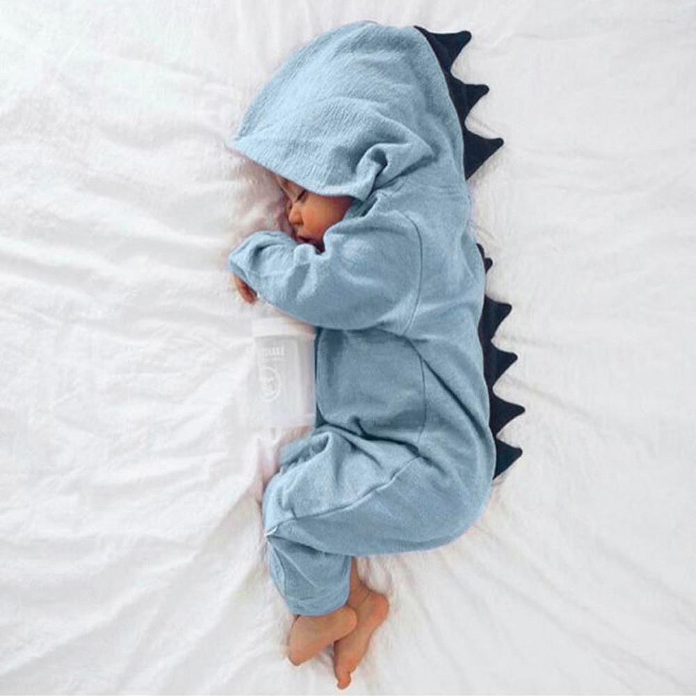 Newborn Infant Baby Boy Girl Dinosaur Hooded Romper Jumpsuit Outfits Clothes US