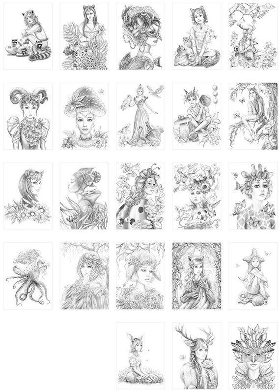 image about Printable Grayscale known as Printable Electronic PDF- Gals of Mother nature. Grayscale Coloring
