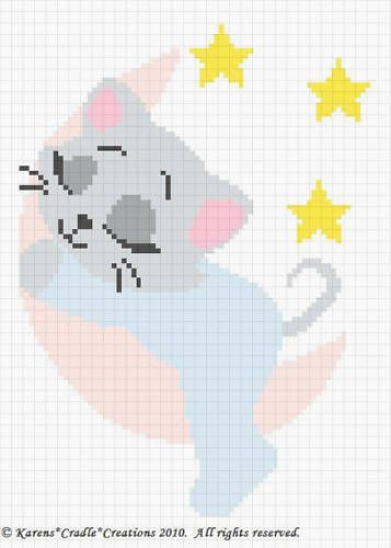 Details about SLEEPY KITTEN ON THE MOON Baby Afghan Pattern ***EASY #c2cbabyblanket