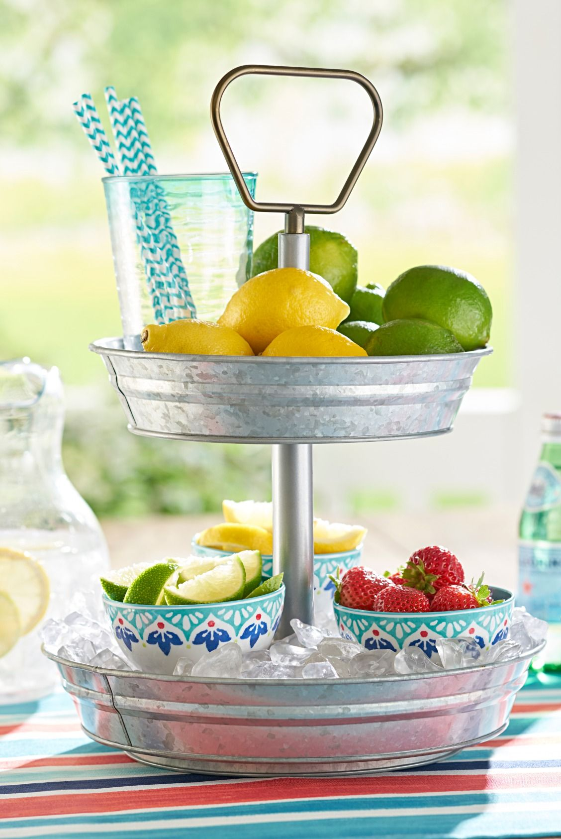 Galvanized 2 Tiered Round Stand Tiered Tray Decor Tiered Tray Lemon Decor