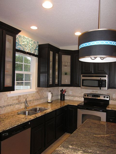 Black Kitchen Cabinets Frosted Glass Cabinet Doors Delicatus Granite Drum Pendant Golden Fantasy Granite On Island Glass Kitchen Cabinet Doors Glass Kitchen Cabinets Large Kitchen Cabinets