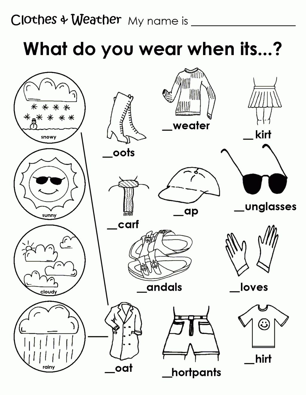 Printable Weather Clothes Worksheet   Hojas de inglés para niños [ 1326 x 1025 Pixel ]