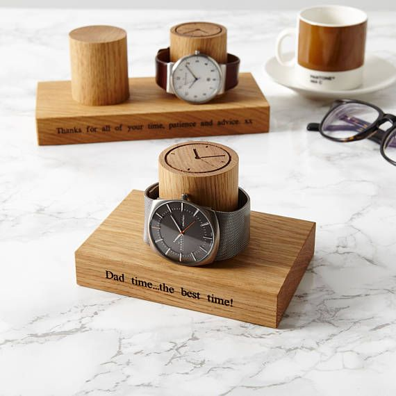 Gents Single Watch Stand Gift For Him Present Dad Special Birthday Personalised Display Oak Personalized