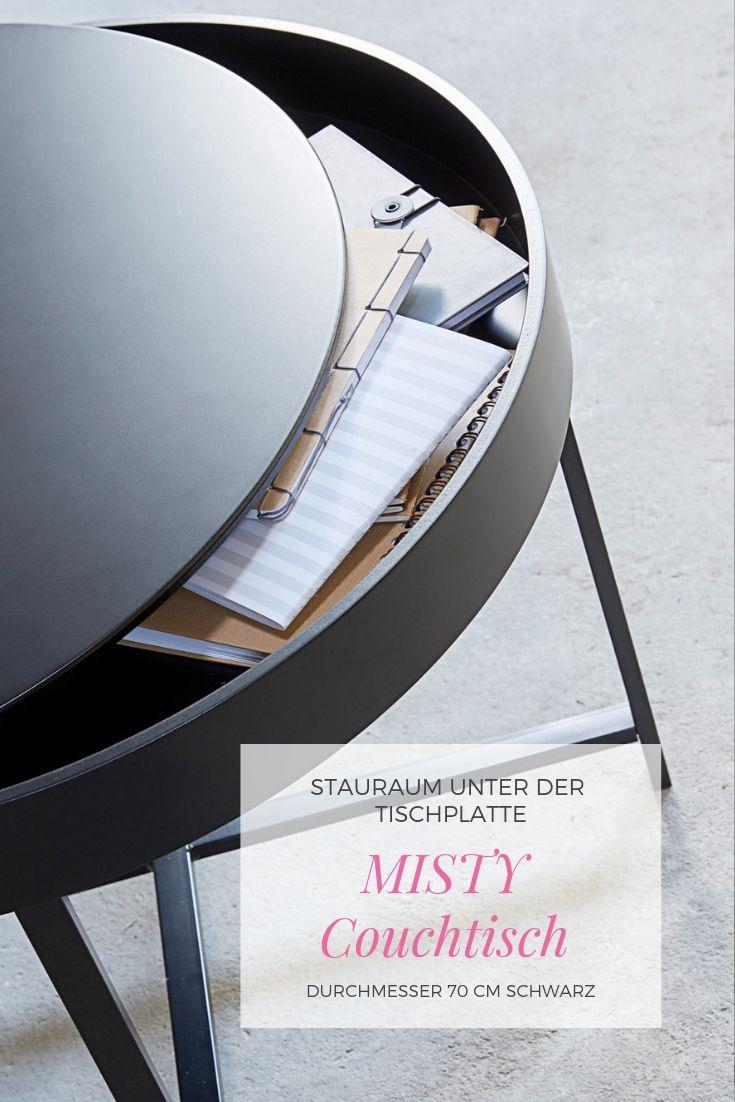 Misty Couchtisch Durchmesser 70 Cm Schwarz Beistelltisch Stauraum Multifunktionsmobel Couchtisch Couchtisch Stauraum Tisch