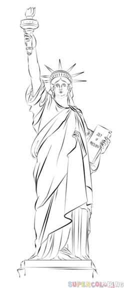 How to draw the Statue of Liberty step by step. Drawing tutorials ...