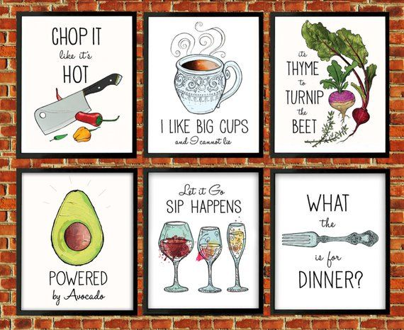 Kitchen Decor 6 Prints Puns Turnip The Beet Fork Thyme To Bee