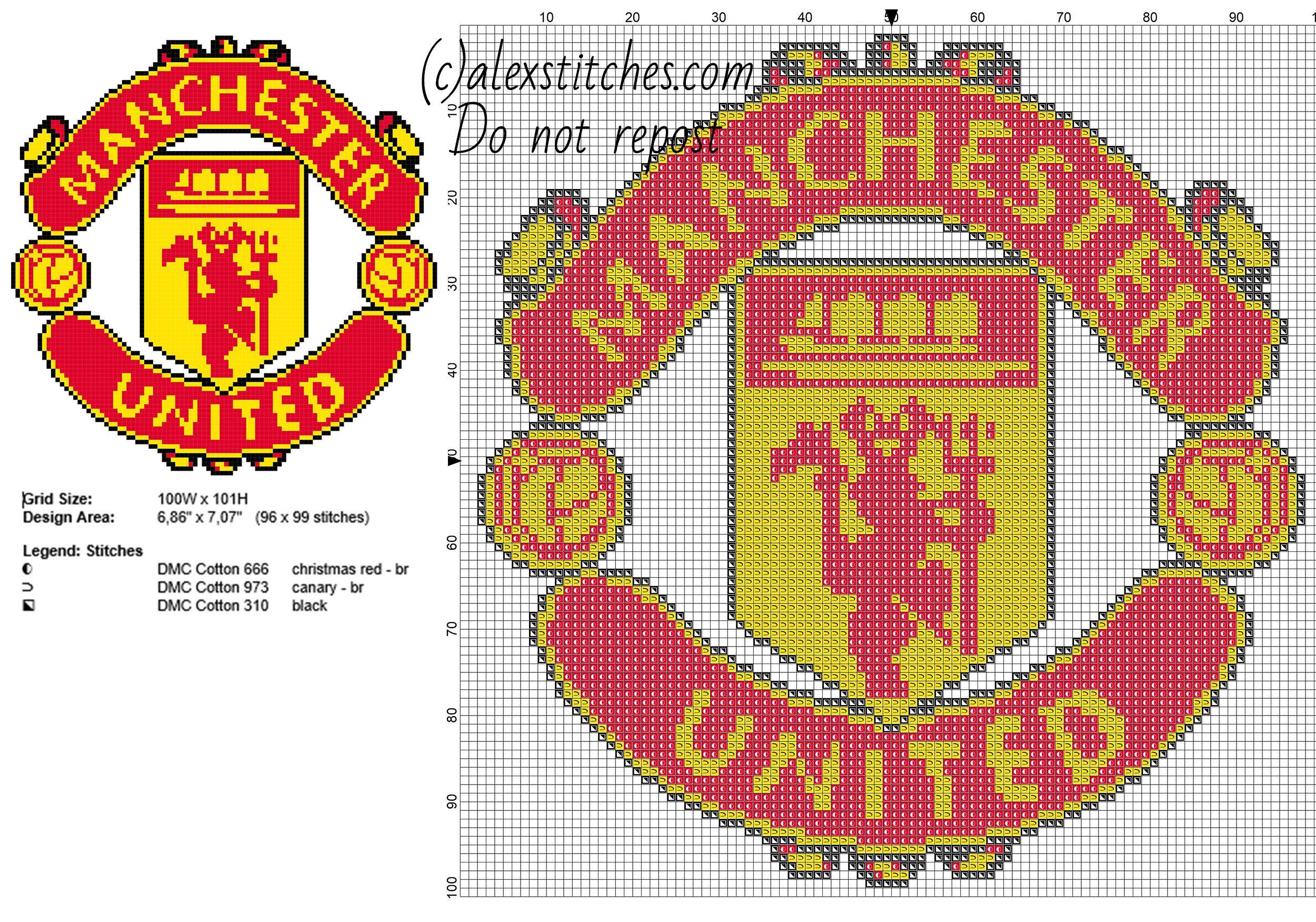 Manchester United soccer team logo free cross stitch pattern