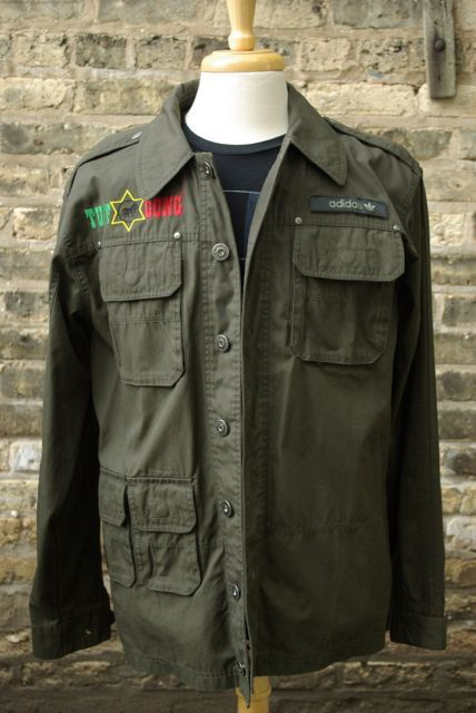 detailed look db616 53b38 Adidas Originals Bob Marley Tuff Gong Rasta Military Jacket Size Large L