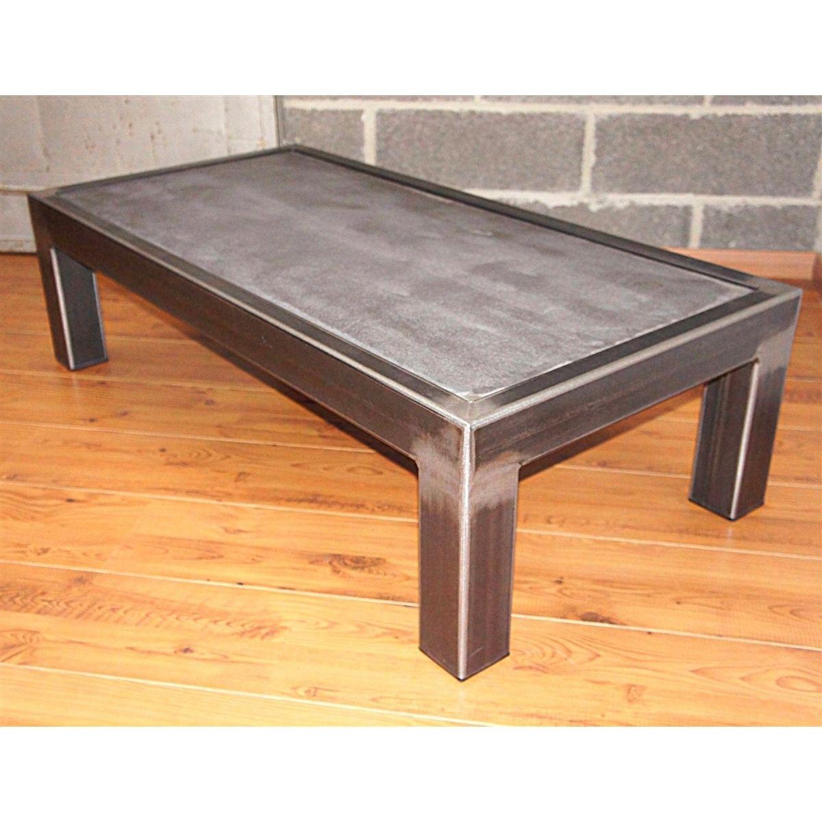 Table En Béton Ciré Et Bois table basse métal brut et béton ciré 120 x 60 x h 40