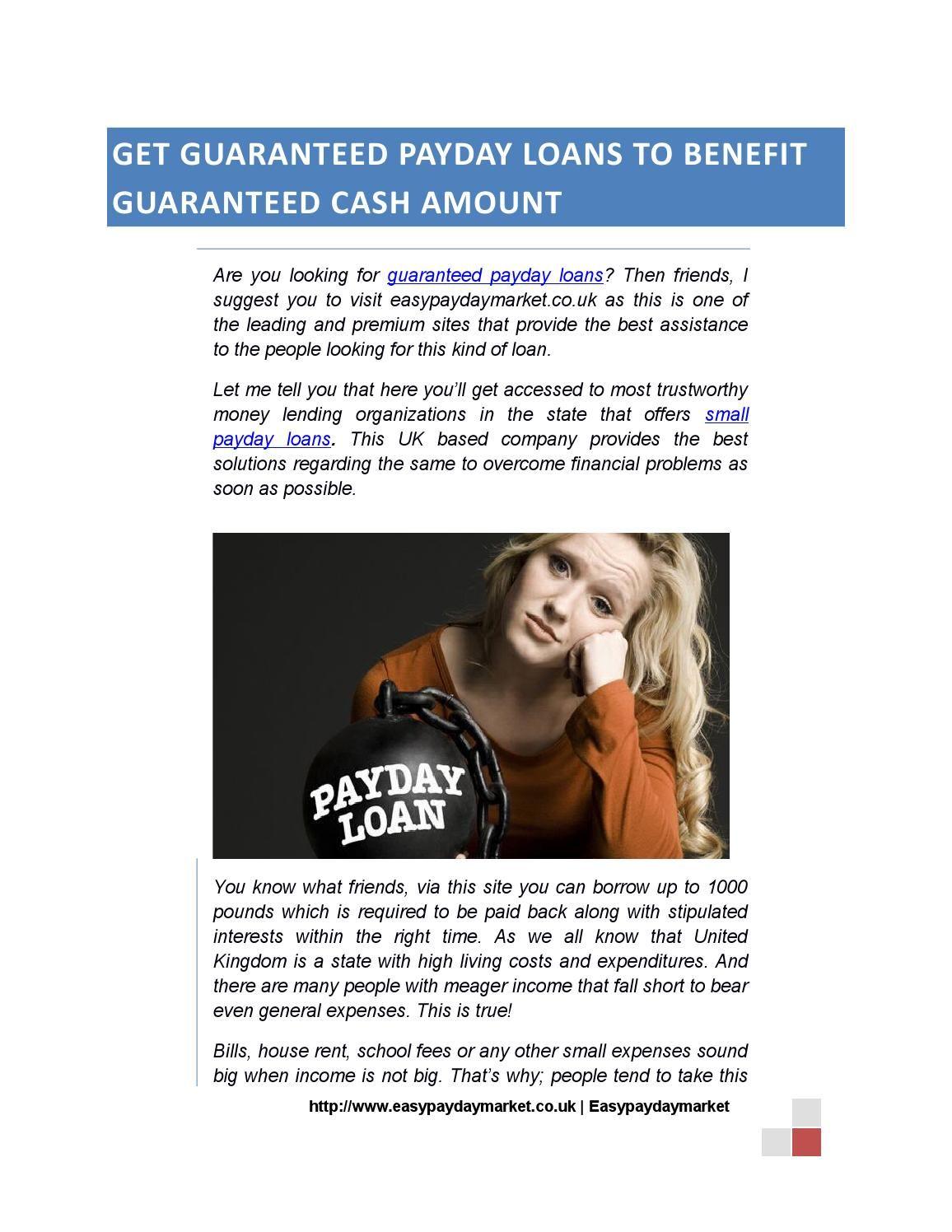 Get guaranteed payday loans to benefit guaranteed Payday