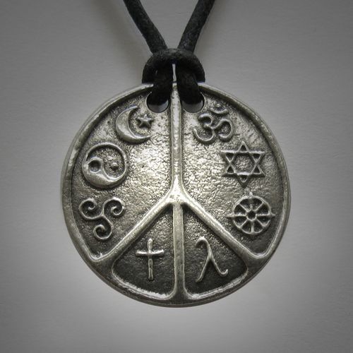 The world peace medallion interfaith jewelry multifaith pendant the world peace medallion interfaith jewelry multifaith pendant coexist pendant eight religious and cultural symbols co existing in peaceere aloadofball Gallery
