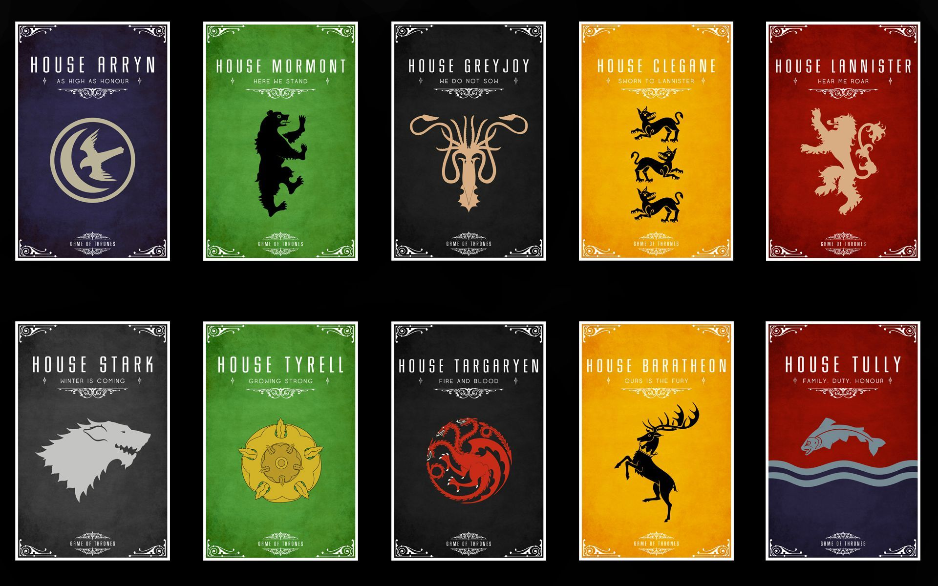 Game Of Thrones Yes Affiches Game Of Thrones Maisons Game Of
