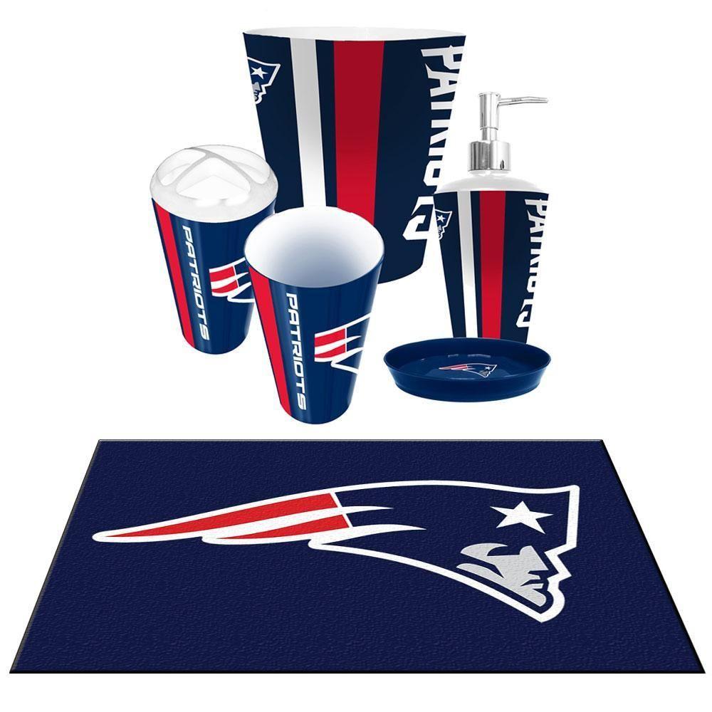 New England Patriots Nfl 6pc Bath Accessories Set Xyz Bath