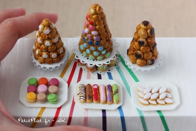 Colorful miniature rainbow pastries and sweet  by Stephanie Kigast of PetitPlat Handmade Miniature Food
