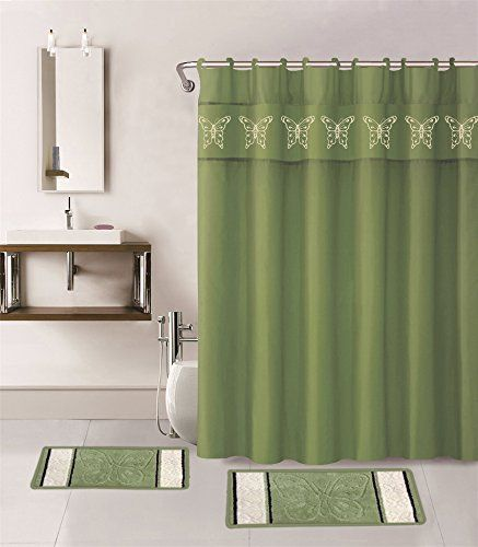 Gorgeous Home 15PC SAGE GREEN BUTTERFLY DESIGN BATHROOM BATH MATS SET RUG CARPET SHOWER CURTAIN HOOKS NONSLIP -- You can get additional details at the image link.