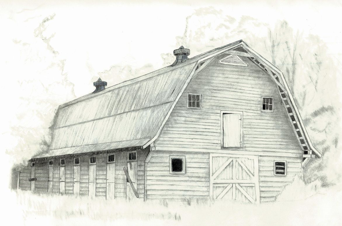 Sketches barn sketching pinterest barn sketches for How to draw a barn easy