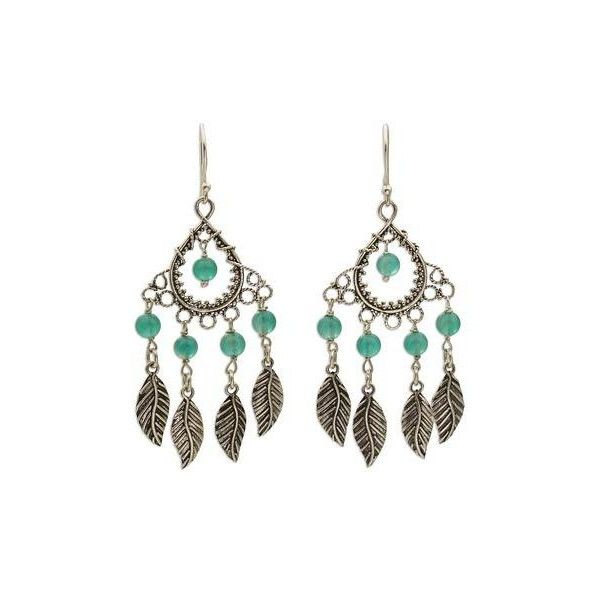NOVICA Sterling Silver and Agate Leaf Chandelier Earrings from ...