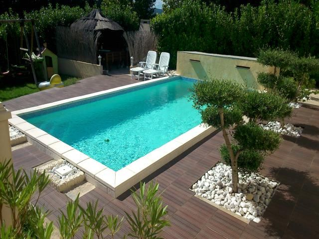 Photos d coration de piscine rectangulaire 8 x 4 m plage for Piscine design plage