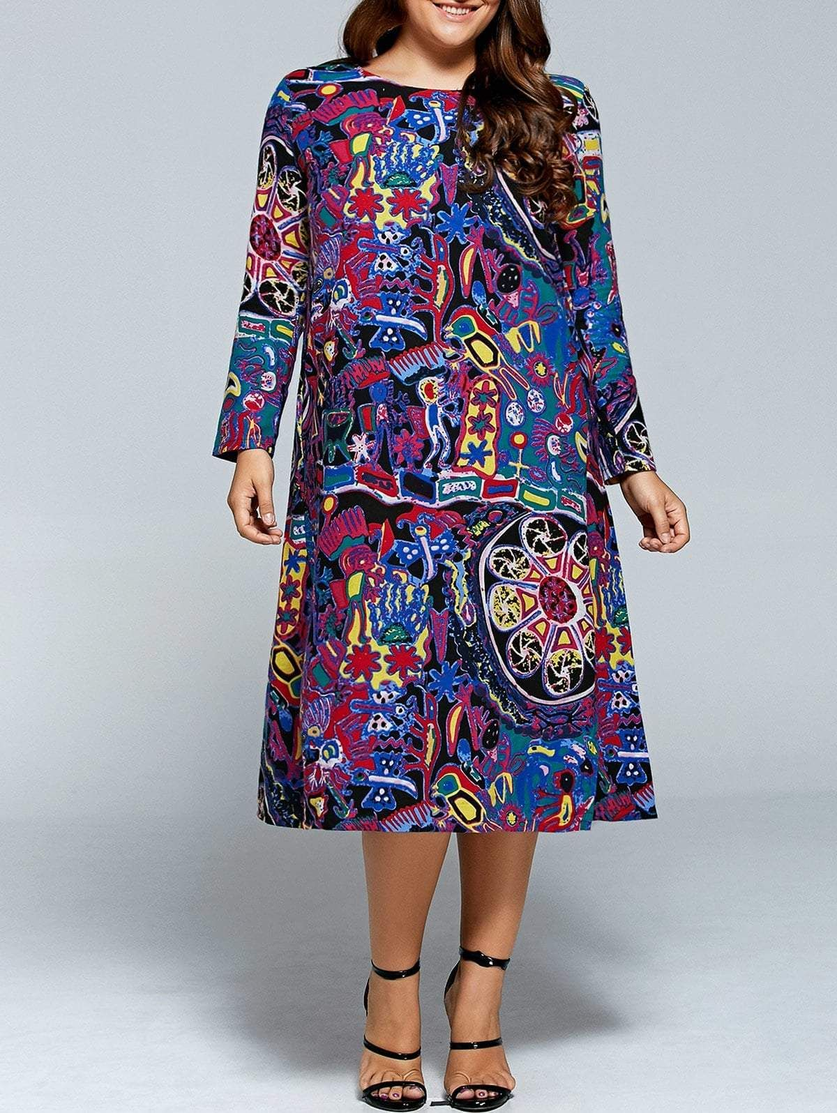 Plus Size Long Sleeve Graffiti Print Midi Dress in 2019 ...