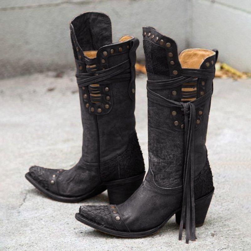 Rivet Low Heel Boots  cuteshoeswear knee boots 2019 knee boots outfit winter knee boots outfit party knee boots outfit dress knee boots with dress