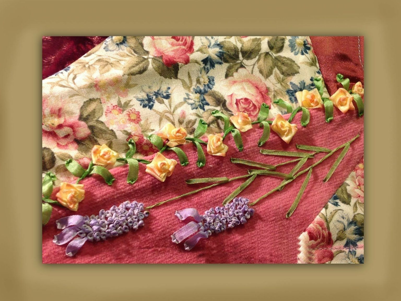 Ribbon embroidery bedspread designs - How To Make Silk Ribbon Embroidered Fat Head Lavender Blooms