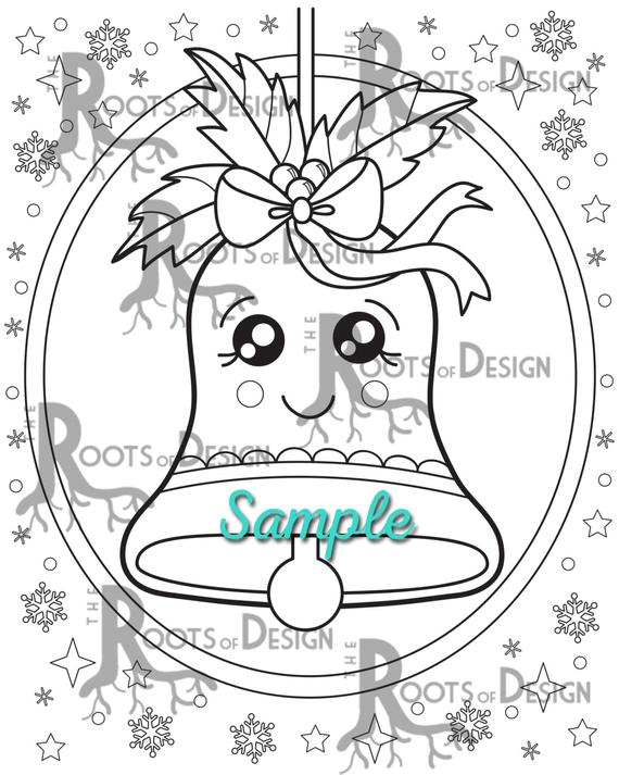 Instant Download Cute Christmas Bell Page Print Doodle Art