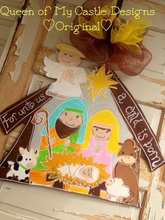 Christmas Door Hanger - Nativity Door Hanger - Christmas ...