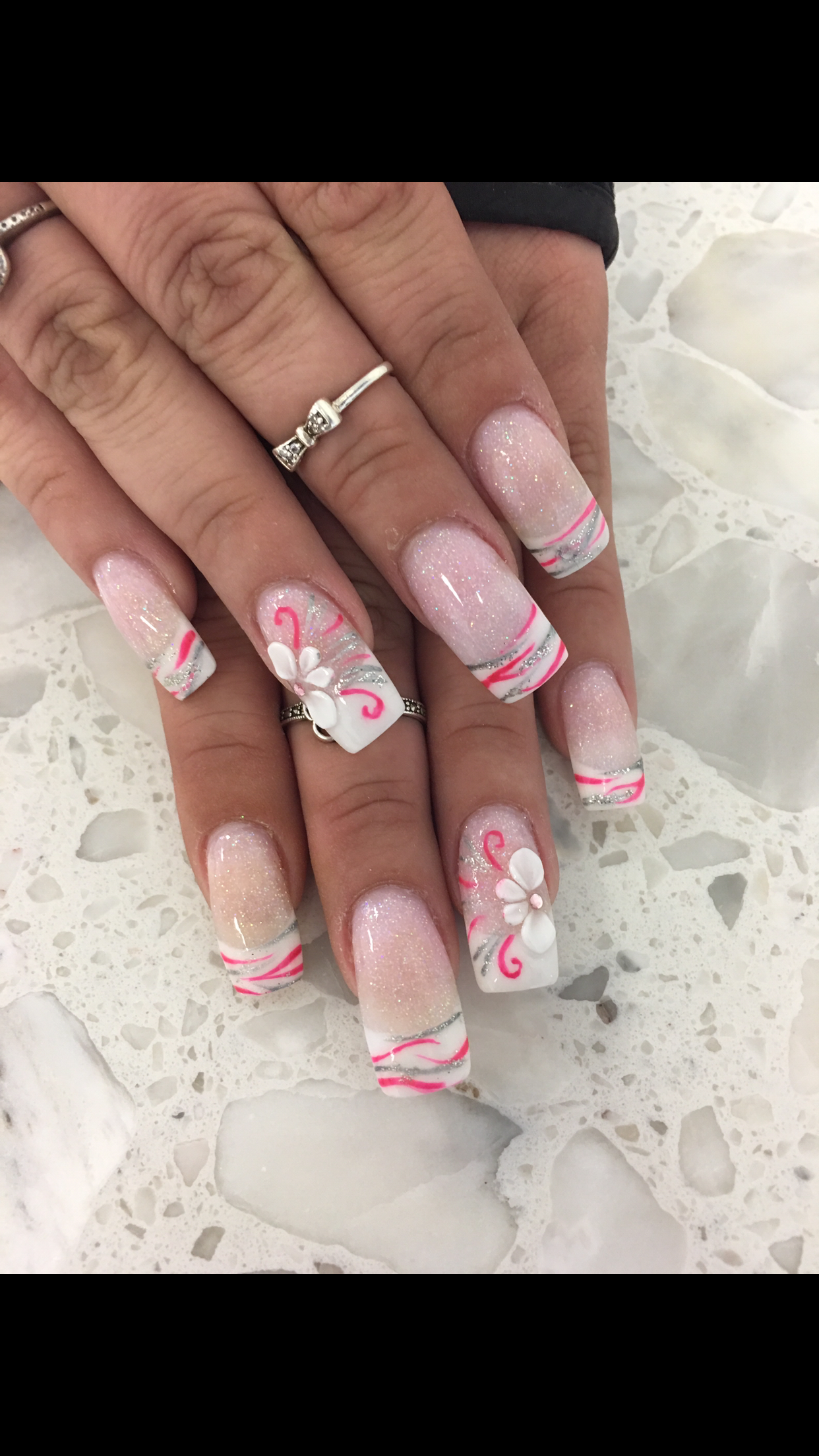 Pink and White 3D Flower Zebra Glitter ANC Nail Design Nail Art Nails - Pink And White 3D Flower Zebra Glitter ANC Nail Design Nail Art