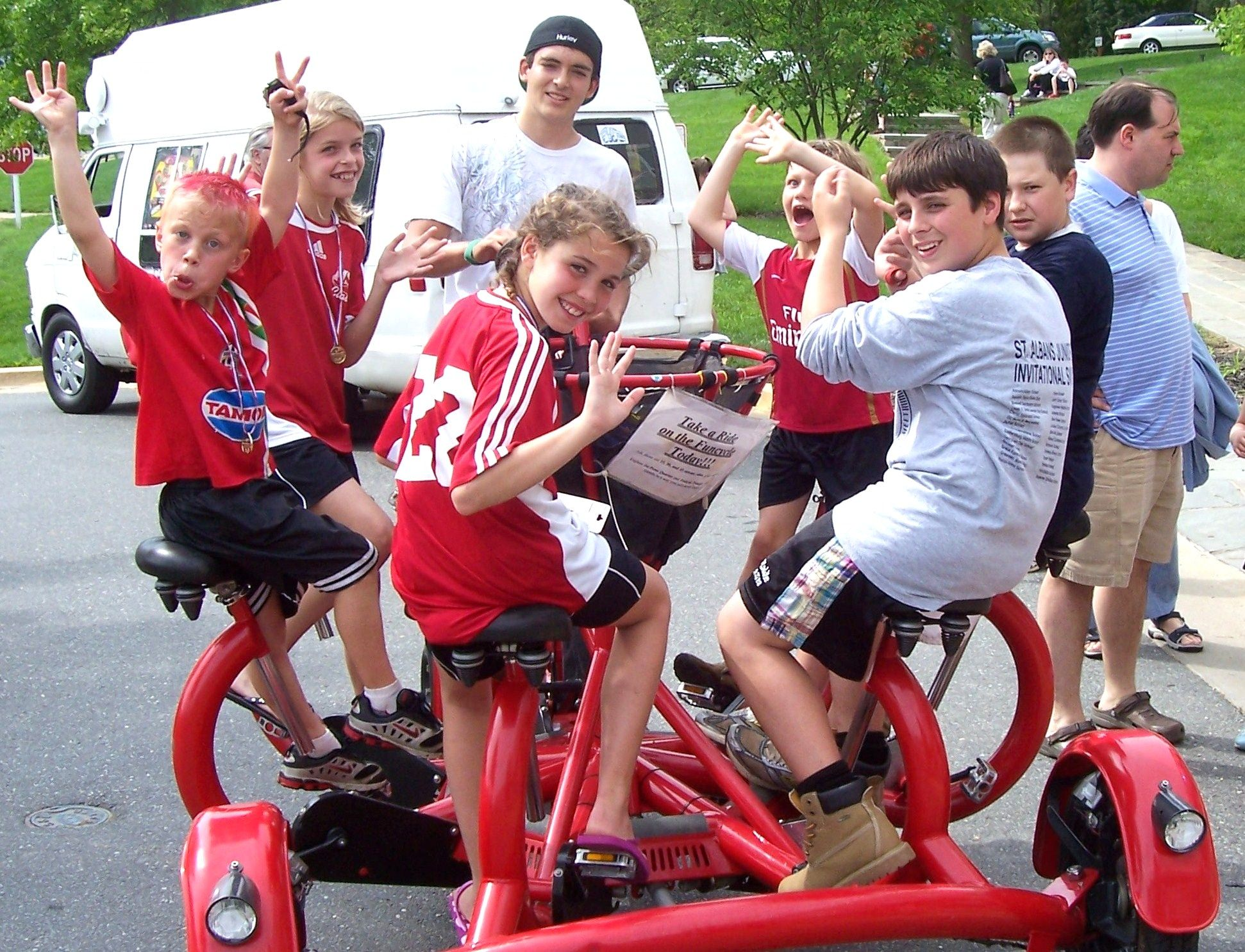 This Is A 7 Person Bike Eveyone Pedals And The Bike Rides Like A